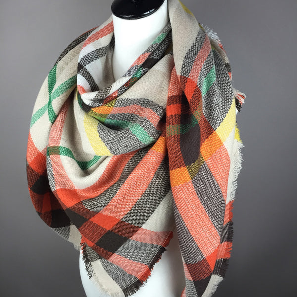 Beige and Orange Tartan Blanket Scarf