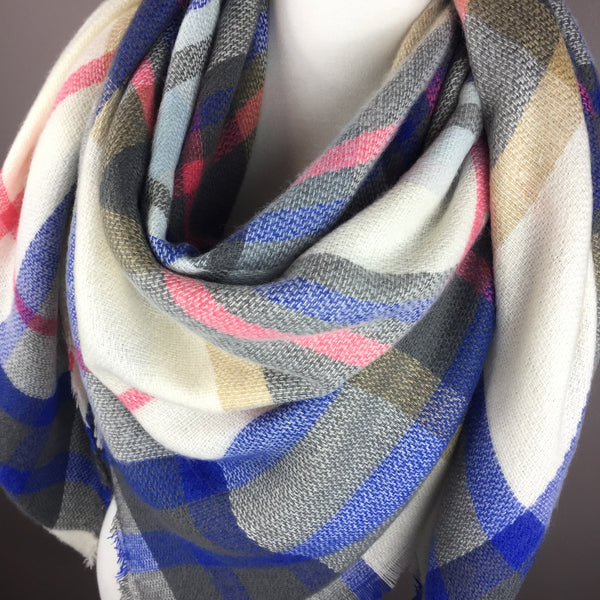 White and Blue Tartan Blanket/Triangle Scarf