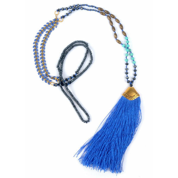Boho Beaded Long Necklace w/ Silk Tassel