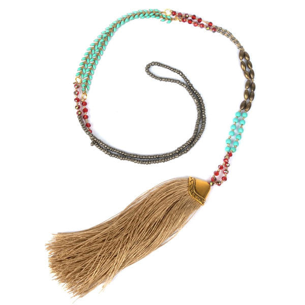 688f2325f19d5 Boho Beaded Long Necklace w  Silk Tassel – Pearls And Rocks