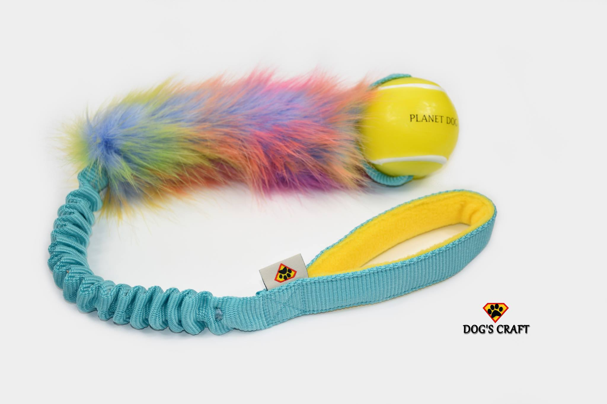 Firework faux fur w/- Planet Dog tennis ball bungee tug