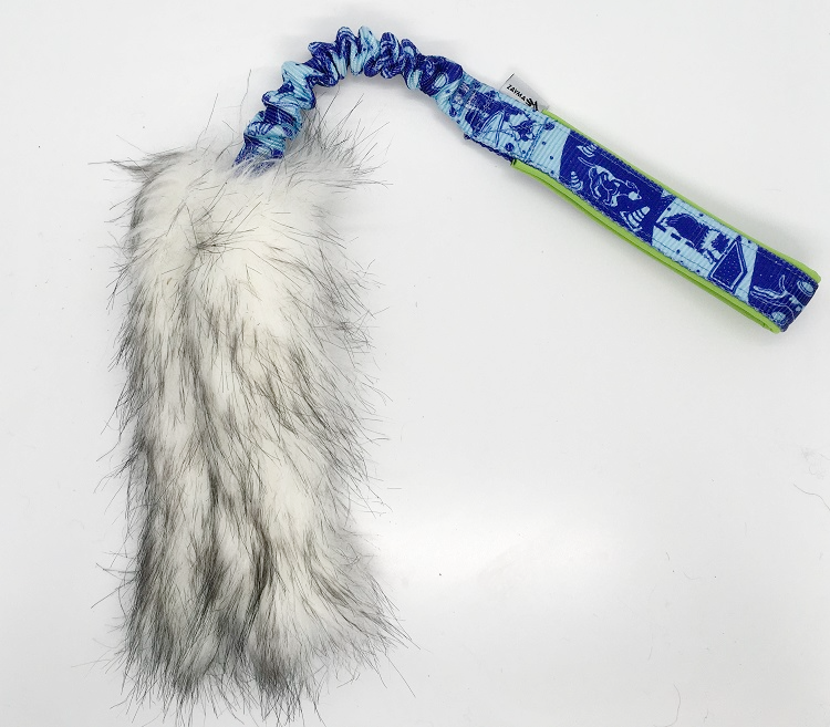 SILVER Faux Fur bungee tug with dog sports print