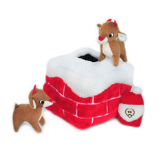 Zippy Paws Christmas Holiday Burrow - Chimney with Reindeers