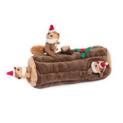 Zippy Paws Holiday Burrow Interactive Squeaker Dog Toy - Yule Log
