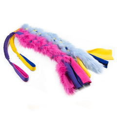 Faux fur and fleece bungee dog toy