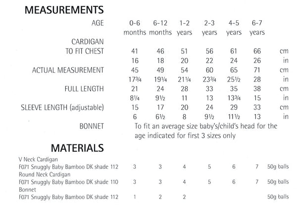 Sirdar measurements for girls cardigan
