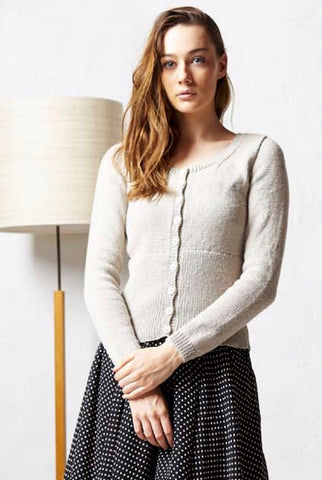 knitted long-sleeved cardigan made from Mulberry Silk yarn - I Wool Knit