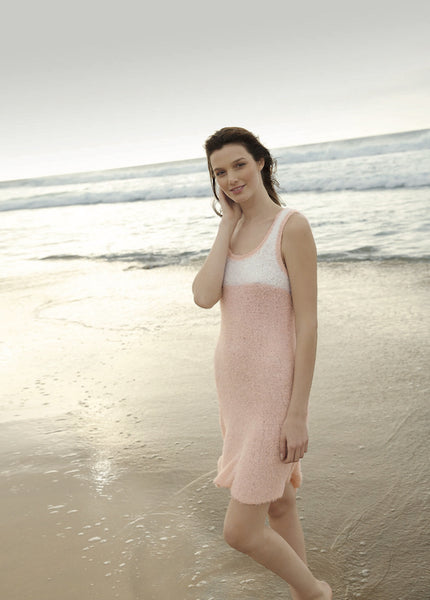 Summer dress in ggh Bellina. Rebecca Knit Kit. Available from I Wool Knit