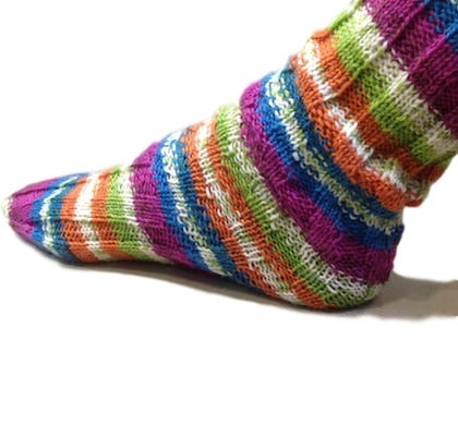 Spiral socks made with sock knitting yarn from I Wool Knit