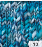 "Graffity, ""thick and thin"" knitting yarn, wool blend, blue"