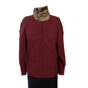 Cable Knit Sweater in Aran Tweed - I Wool Knit