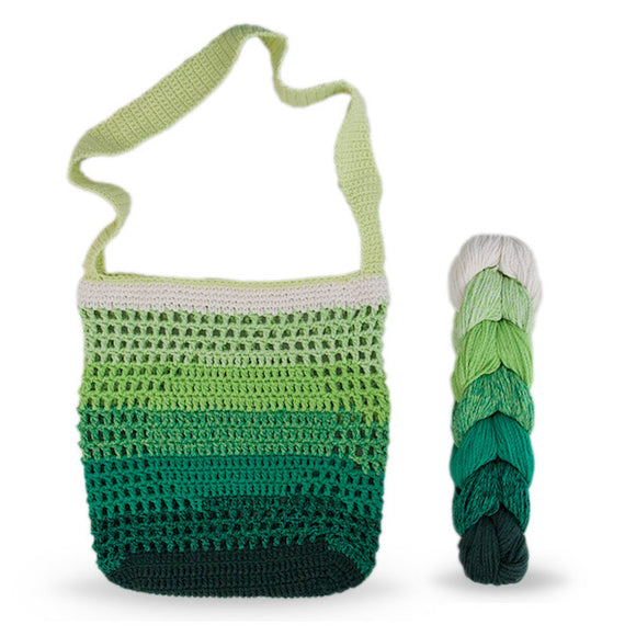 Shoulder Bag Filet Stitch in recycled cotton - Crochet Kit