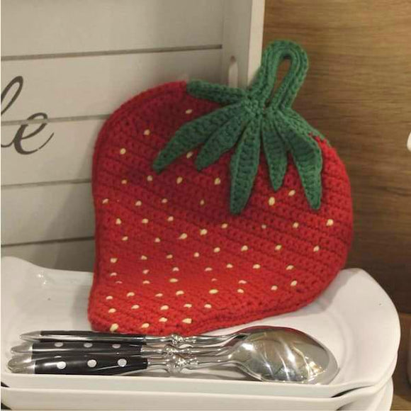 Crochet pattern: Strawberry pot holder in Rellana Adina - I Wool Knit