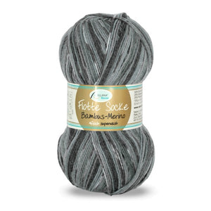 Rellana Flotte Socke Bamboo-Merino-3000, 4ply, Grey-Black, sock yarn, 100g - I Wool Knit