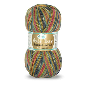 Rellana Flotte Socke Bamboo-Merino-3001, 4ply, brown-red-green-blue, sock yarn, 100g - I Wool Knit