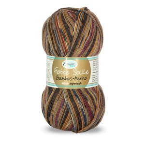 Rellana Flotte Socke Bamboo-Merino-3002, 4ply, Red-Blue-Brown, sock yarn, 100g - I Wool Knit