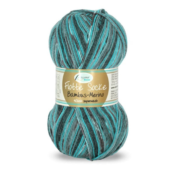 Rellana Flotte Socke Bamboo-Merino-3003, 4ply, blue-brown, sock yarn, 100g - I Wool Knit
