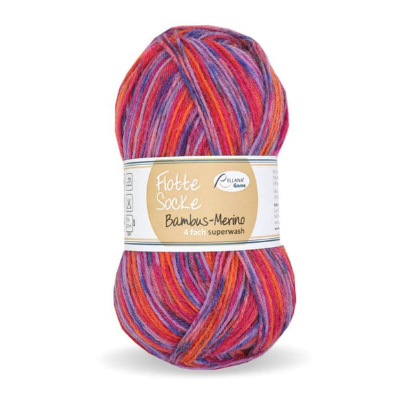 Rellana Flotte Socke Bamboo-Merino-3006, 4ply, red-blue, sock yarn, 100g - I Wool Knit