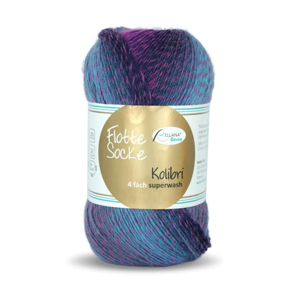 Rellana Flotte Socke Kolibri 6211, 4ply, sock yarn, variegated, 100g - I Wool Knit