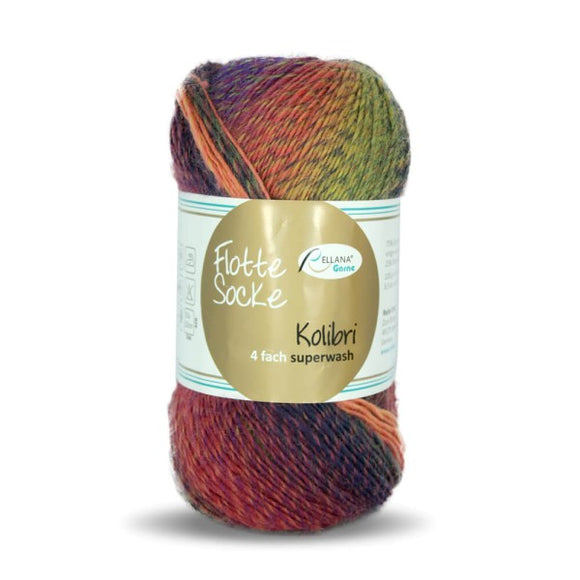 Rellana Flotte Socke Kolibri 6215, 4ply, sock yarn, variegated, 100g - I Wool Knit