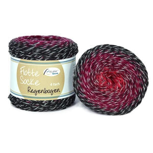 Flotte Socke Regenbogen. 4ply sock yarn in two identical yarn cakes.