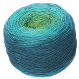 Regenbogen 13, blue-green, hand-wound multi-coloured lace yarn, 4ply, 200g - I Wool Knit - 1