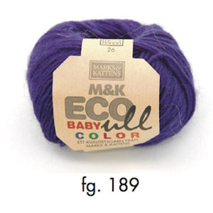 Marks & Katten, M&K Eco-Baby Ull Color 189, dark purple, eco-yarn, wool and Merino, 4-6ply, 25g - I Wool Knit