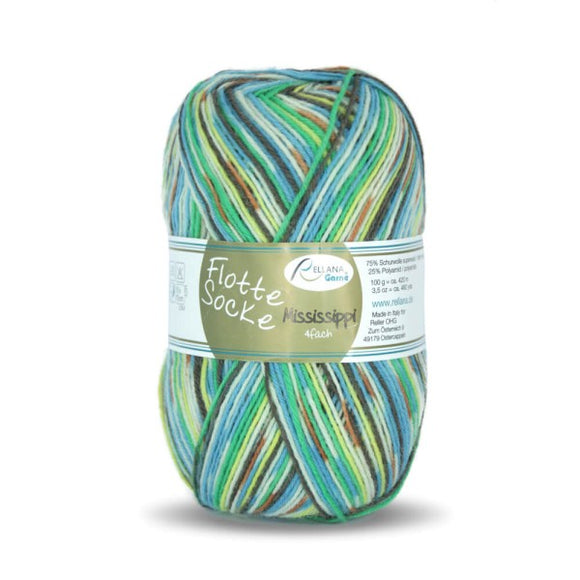 Rellana Flotte Socke Mississippi 1160, turquoise, 4ply, sock yarn, 100g - I Wool Knit