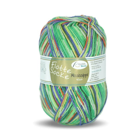 Rellana Flotte Socke Mississippi 1161, green, 4ply, sock yarn, 100g - I Wool Knit