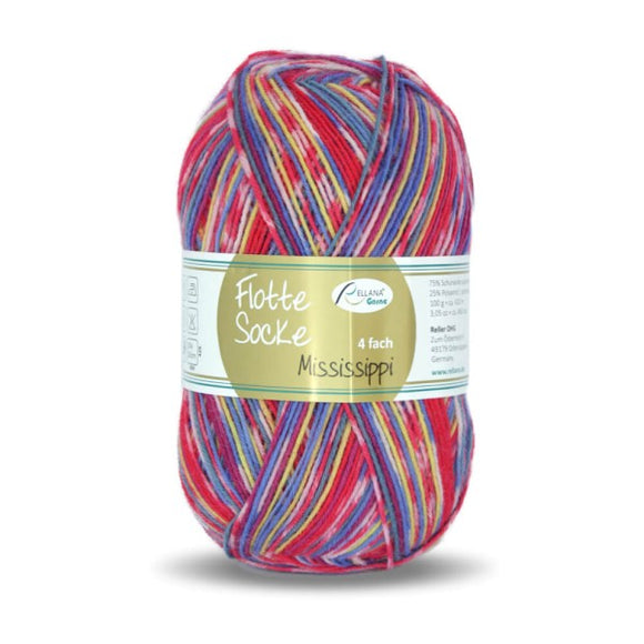 Rellana Flotte Socke Mississippi 1163, red, 4ply, sock yarn, 100g - I Wool Knit
