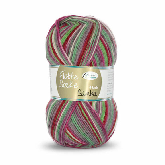 Rellana Flotte Socke Samba 1291, red-green, 4ply sock yarn, 100g - I Wool Knit
