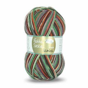 Rellana Flotte Socke Samba 1293, orange-brown-green, 4ply sock yarn, 100g - I Wool Knit