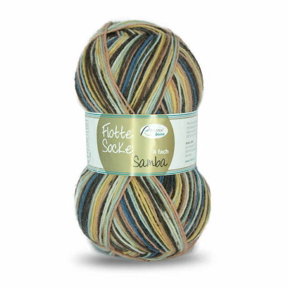 Rellana Flotte Socke Samba 1294, brown-yellow-blue, 4ply sock yarn, 100g - I Wool Knit