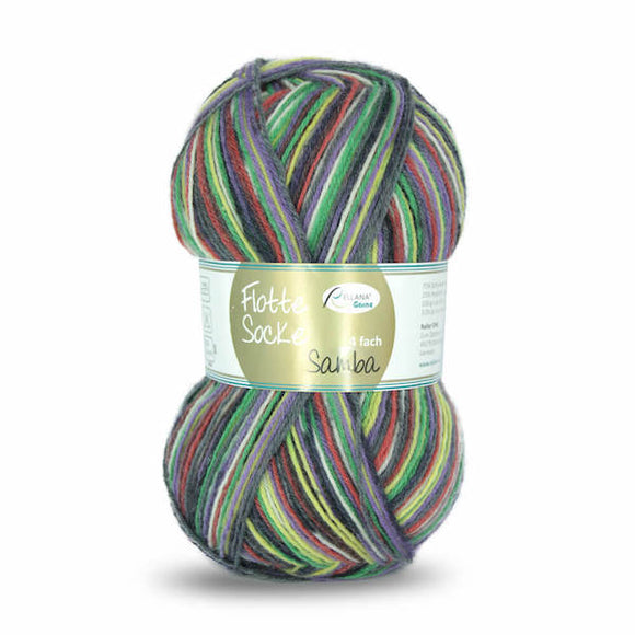 Rellana Flotte Socke Samba 1295, green-red-purple, 4ply sock yarn, 100g - I Wool Knit