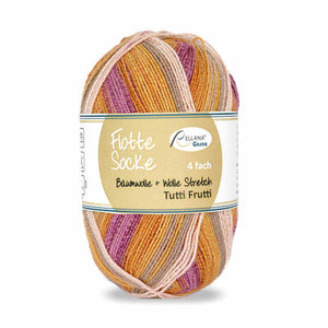 Rellana Flotte Socke Baumwolle Tutti Frutti 1410, 4ply, sock yarn with cotton, 100g - I Wool Knit