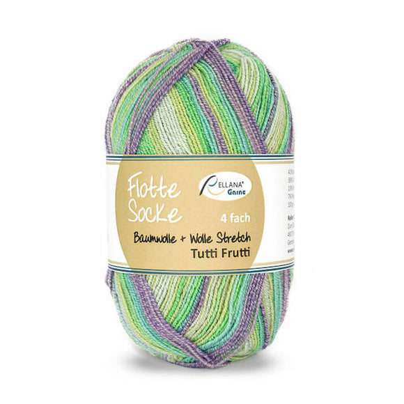 Rellana Flotte Socke Baumwolle Tutti Frutti 1413, 4ply, sock yarn with cotton, 100g - I Wool Knit