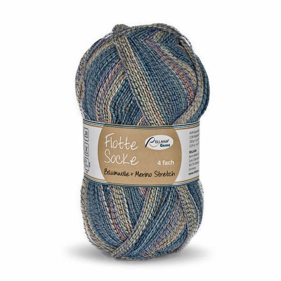 Rellana Flotte Socke Baumwolle-Merino 1555, 4ply, sock yarn with cotton, 100g - I Wool Knit