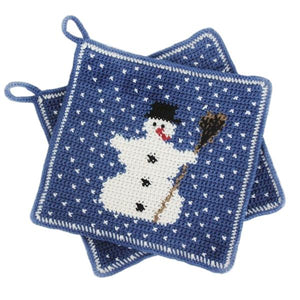 "Christmas Crochet Pattern: Potholder ""Snowman"" in Rellana Adina"