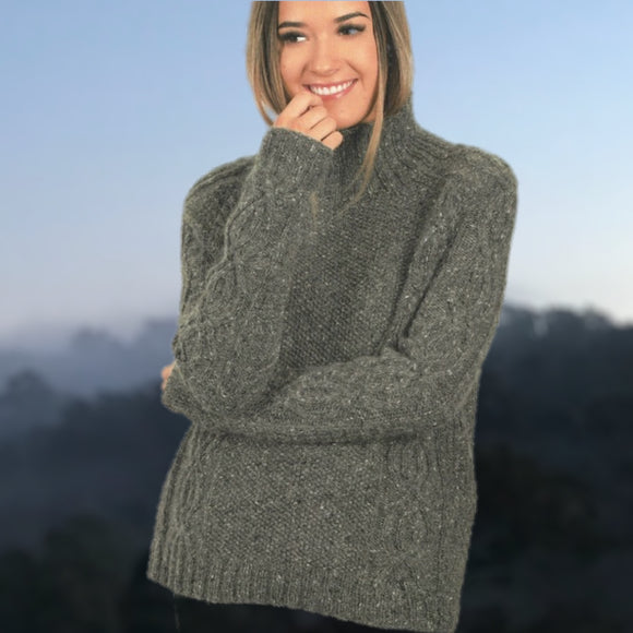 Alder Aran Jumper in Donegal Irish Tweed - Knit Kit - I Wool Knit