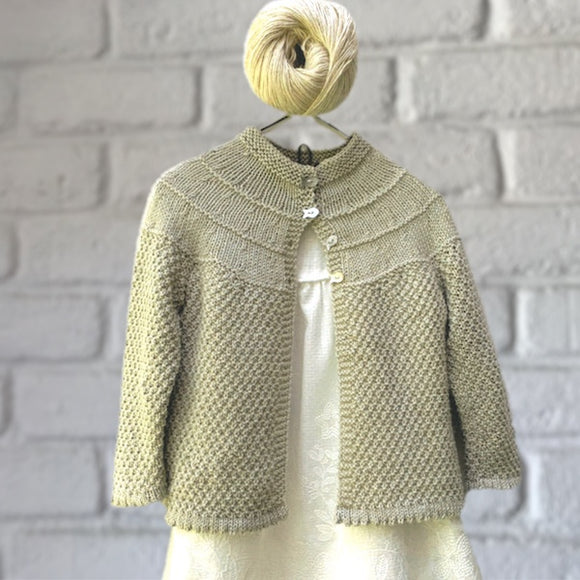 Baby Yoke Cardigan in Calor Natural - Knit Kit - I Wool Knit