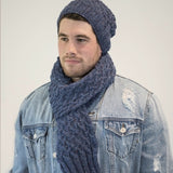Beanie and Scarf Combo in Kilcarra Aran Tweed - Knit Kit - I Wool Knit