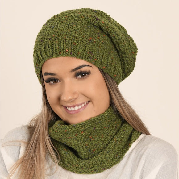 Slouchy Moss Beanie & Cowl in Kilcarra Aran Tweed - Knit Kit - I Wool Knit