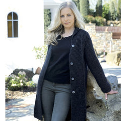 woollen coat in black - I Wool Knit