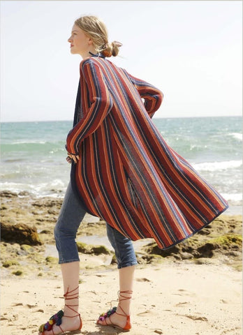 Rebecca Knit Kit, long striped cardigan - I Wool Knit