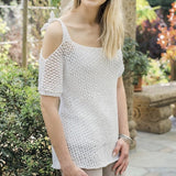 Lacy Top with Shoulder Cut Out in Rellana Top Cotton - I Wool Knit