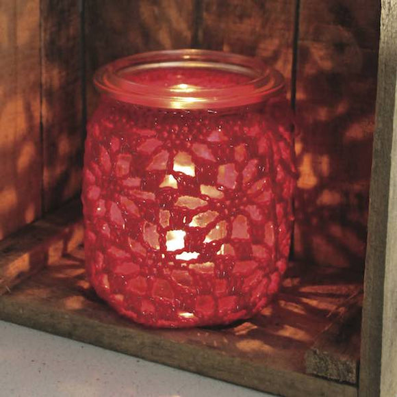 Crochet Candle Jar in Adina cotton, I Wool Knit