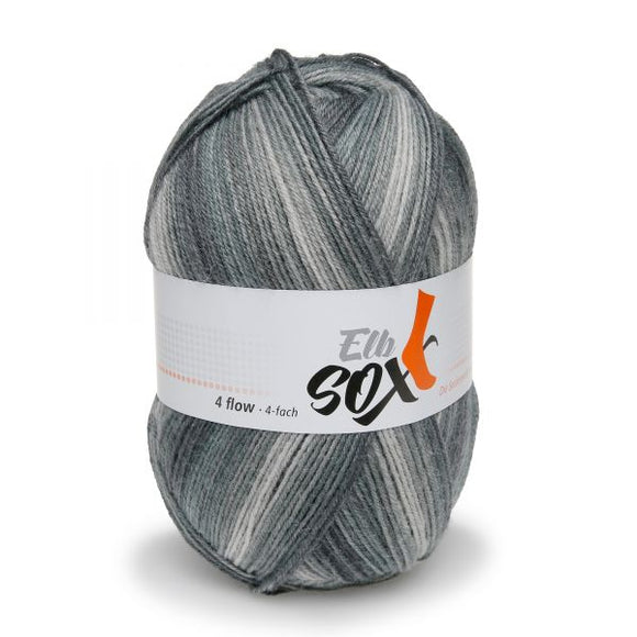 ggh Elbsox 4 flow color 001, black dégradé, sock knitting yarn, 4ply, 100g - I Wool Knit