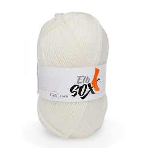 ggh Elbsox 4 uni 001, white, sock knitting yarn, 50g, 4ply - I Wool Knit