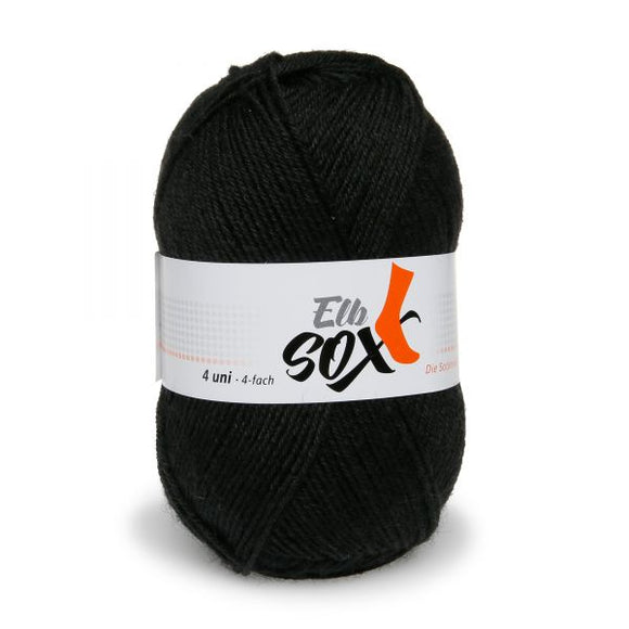 ggh Elbsox 4 uni 002/521, black, sock knitting yarn, 50g, 4ply - I Wool Knit