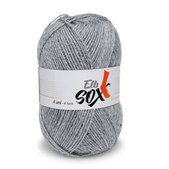 ggh Elbsox 4 uni 003/554, light grey, sock knitting yarn, 50g, 4ply - I Wool Knit